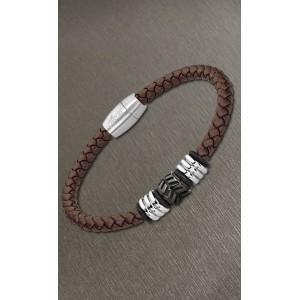 Bracelet Lotus style LS2062-2/1 cuir marron