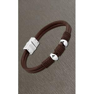 Bracelet Lotus style acier LS1389-2/1 cuir marron