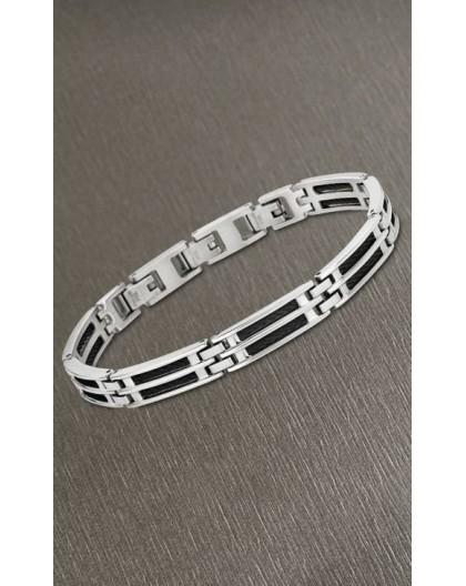 Bracelet Lotus style acier LS1800-2/1 cable noir