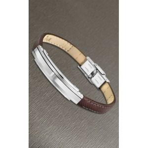 Bracelet Lotus style acier LS1809-2/1 cuir marron