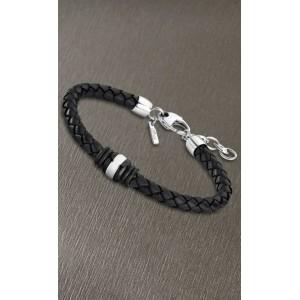 Bracelet Lotus style acier LS1814-2/5 cuir noir