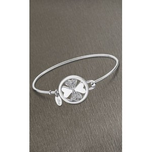 Bracelet jonc Lotus style LS2014-2/1 trèfle strass