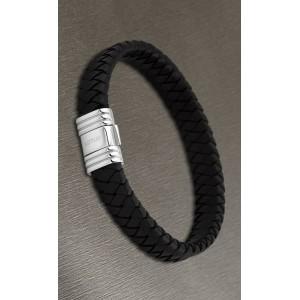 Bracelet Lotus style acier LS1518-2/2 cuir noir
