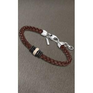 Bracelet Lotus style acier LS1814-2/4 cuir marron