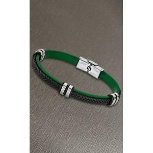 Bracelet Lotus style acier LS1829-2/2 cuir vert