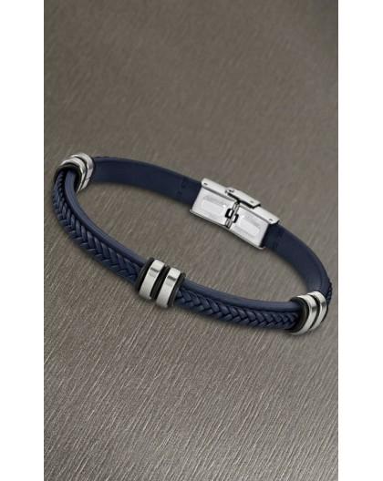 Bracelet Lotus style acier LS1829-2/5 cuir bleu