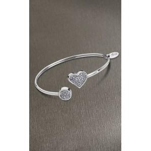 Bracelet Lotus style acier LS1850-2/1 coeur strass