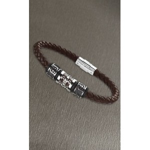 Bracelet Lotus style LS2008-2/2 cuir marron