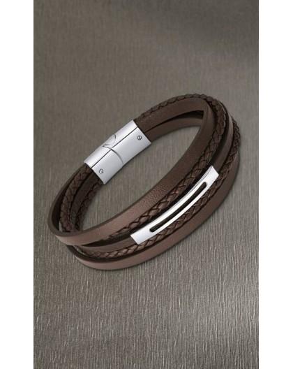 Bracelet Lotus style LS2145-2/2 cuir marron