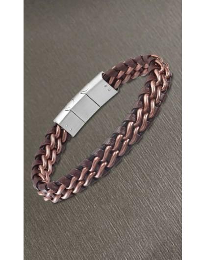 Bracelet Lotus style LS2147-2/1 cuir marron