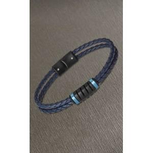 Bracelet Lotus style LS2150-2/2 cuir bleu