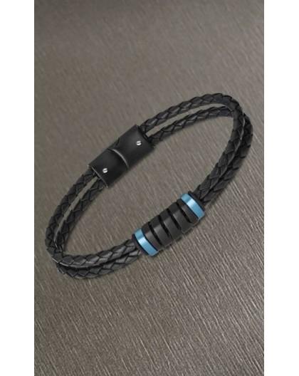 Bracelet Lotus style LS2150-2/4 cuir noir