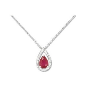 Collier Or Gris 375/1000e Rubis entourage oxydes