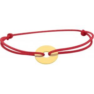 Bracelet cercle or sur cordon soie rouge gravable