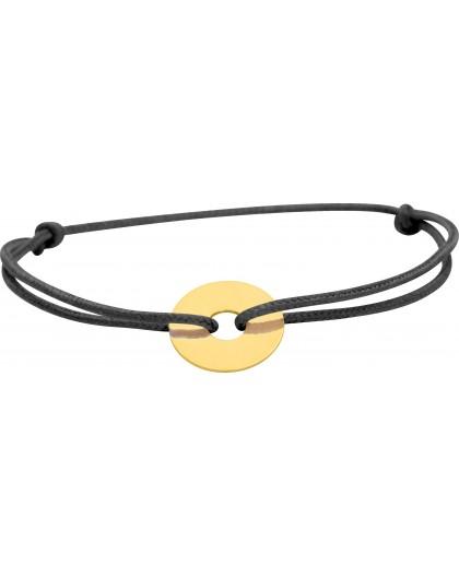 Bracelet cercle or sur cordon soie noir gravable