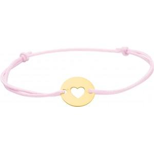 Bracelet cercle or sur cordon soie rose gravable