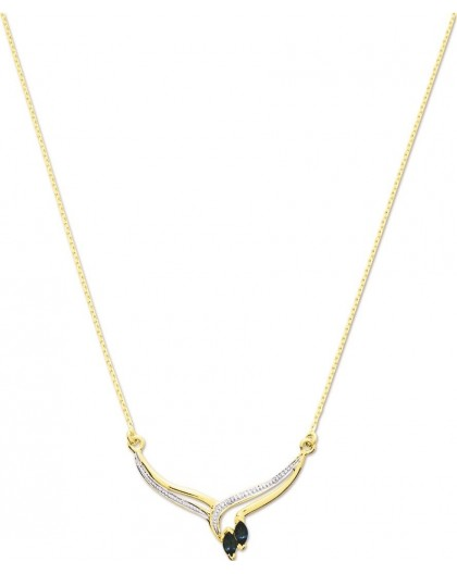 Collier Or et Saphirs navettes
