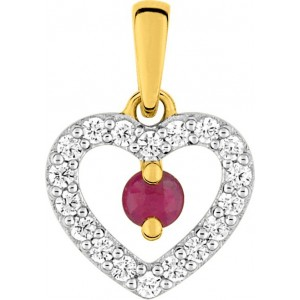 Pendentif Or motif coeur rubis et oxydes zirconium