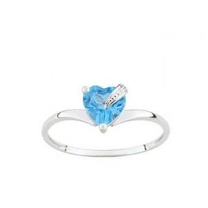Bague Or gris coeur topaze bleue traitée