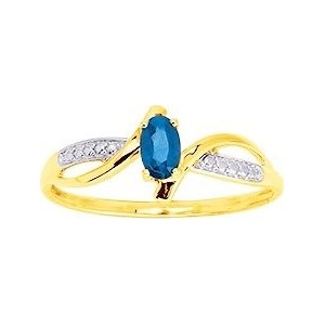 Bague Or jaune moderne Saphir