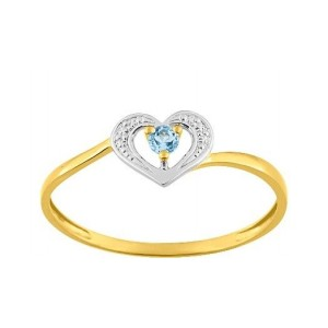 Bague Or jaune coeur topaze bleue traitée