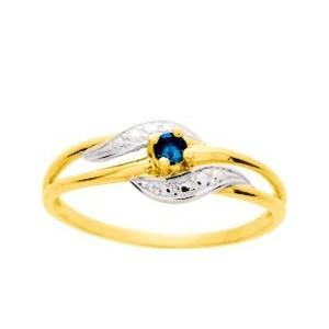 Bague Or jaune style rétro Saphir