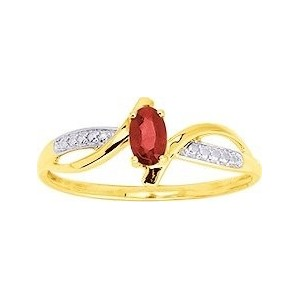 Bague Or jaune moderne Rubis oxydes