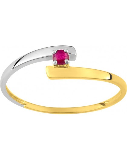 Bague Or bicolore Rubis solitaire