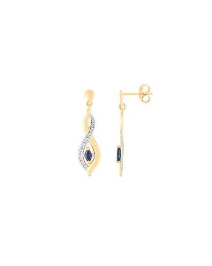 Boucles Oreilles Or pendantes saphirs