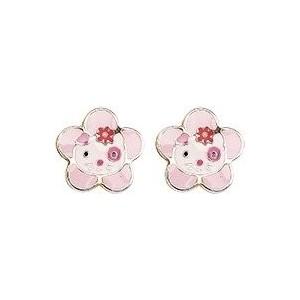 Boucles Oreilles Or fleur chaton laque rose