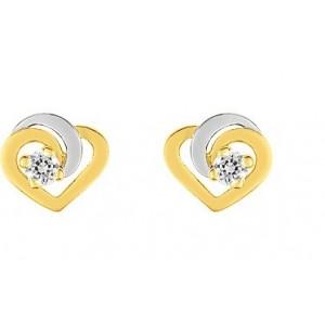 Boucles Oreilles Or bicolore coeur oxydes