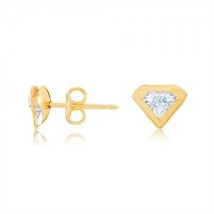 Boucles Oreilles Or puces forme diamant