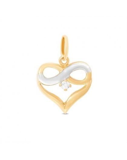 Pendentif Or Coeur infini et oxyde de zirconium