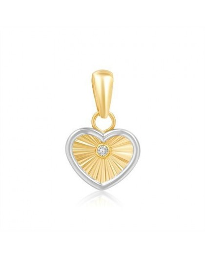 Pendentif Or coeur rayonnant et diamant