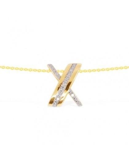 Collier or jaune et diamants motif entrecroisé