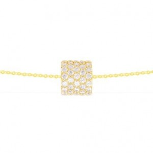 Collier or jaune cylindre serti oxydes zirconium