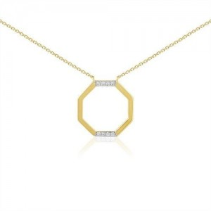 Collier or jaune motif octogone diamants