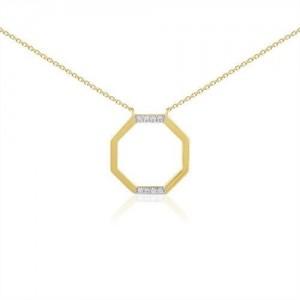 Collier or jaune motif octogone diamants