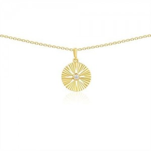 Collier or jaune motif rayon serti diamant