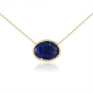 Collier or jaune Lapis lazuli baroque serti