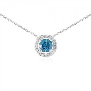Collier or gris Topaze blue london avec entourage