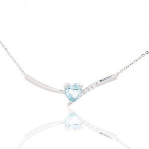 Collier or gris Topaze bleu coeur et oxydes