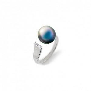 Bague IzaB ligne Epure perle Tahiti diamants