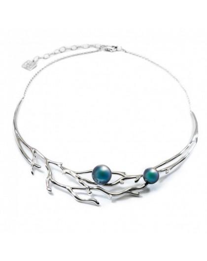 Collier IzaB ligne Corail perles de tahiti diamant