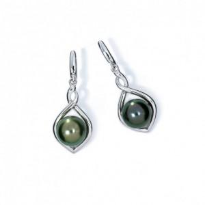 Boucles oreilles IzaB ligne Flore perle de tahiti