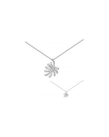 Collier argent motif palmier oxydes zirconium
