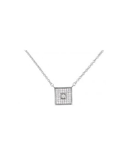 Collier argent motif carré rétro oxydes zirconium