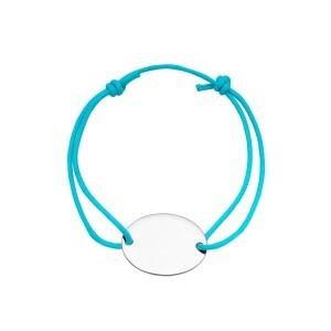 Bracelet cordon bleu médaille à graver