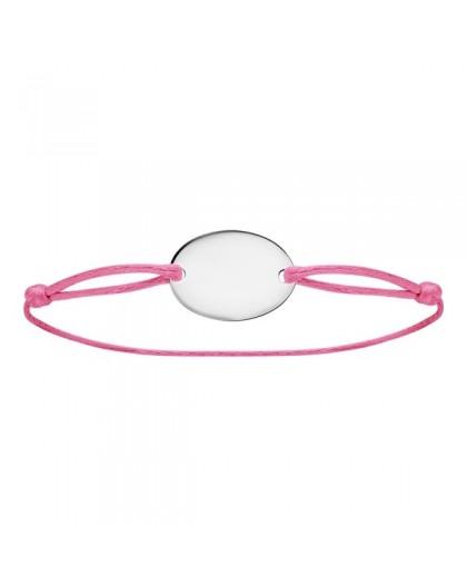 Bracelet cordon rose médaille à graver