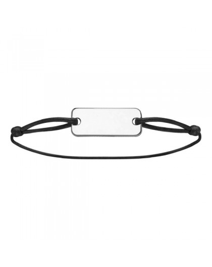 Bracelet cordon noir plaque à graver